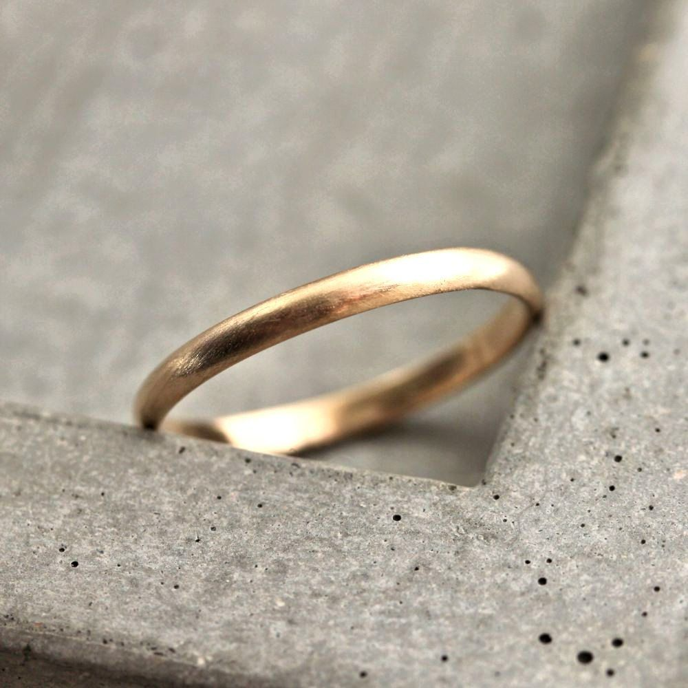 brushed gold wedding band Women s Gold Wedding Band 2mm Half Round Slim Recycled 14k Yellow Gold Ring Brushed Gold Wedding Ring Made in Your Size