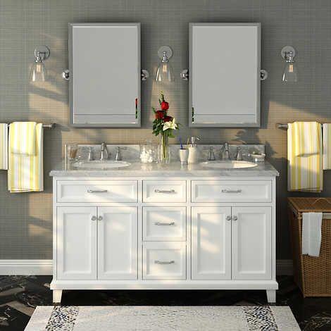 edison 60 white double sink vanity by lanza basement in 2019 rh pinterest com