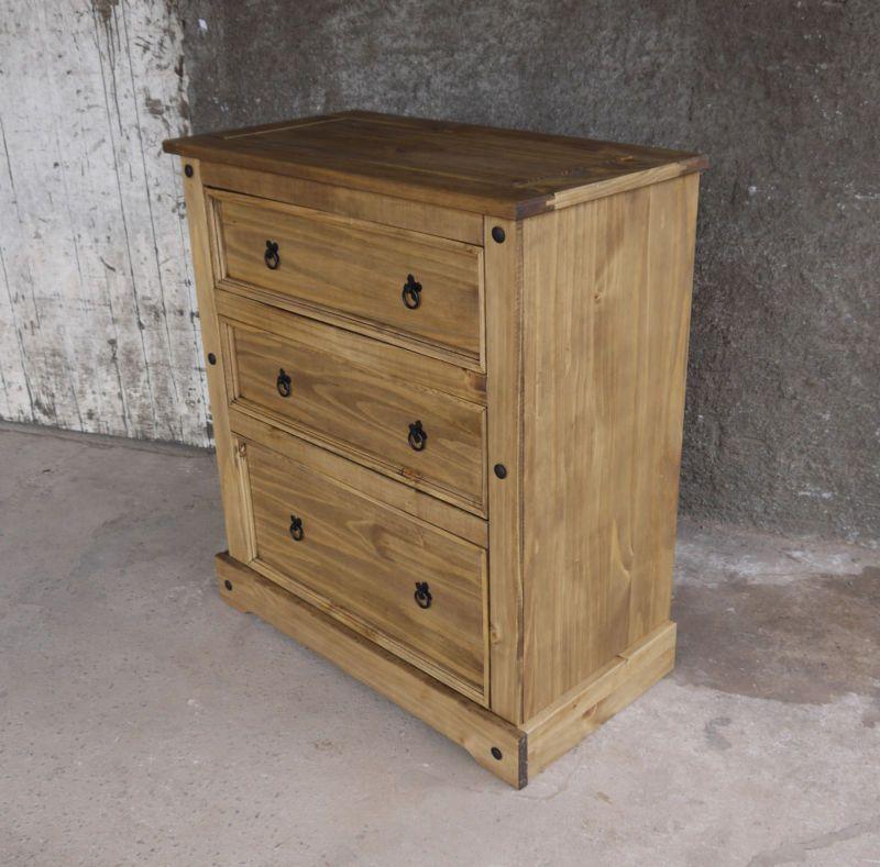Pinie Massivo Kommode Massivholzschrank 3 Schubladen Holz Corona Antik  92x104x48