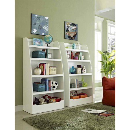 Mia Kids 4-Shelf Bookcase Multiple Colors:Open shelves hold toys books and personal itemsAvailable finishes: Espresso and WhiteAssembly requiredDimensions: 31.57L x 15.51W x 60HModel# 96270962 people are required for proper assemblyWhite bookcase features a sleek curved designPairs well with a variety of decor stylesA convenient space-saving storage solution  - Shelf Bookcase - Ideas of Shelf Bookcase #ShelfBookcase #teenroomdecor