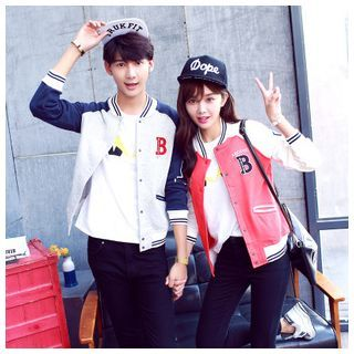 Matching Couple Lettering Baseball Jacket | Korean couple clothing ...