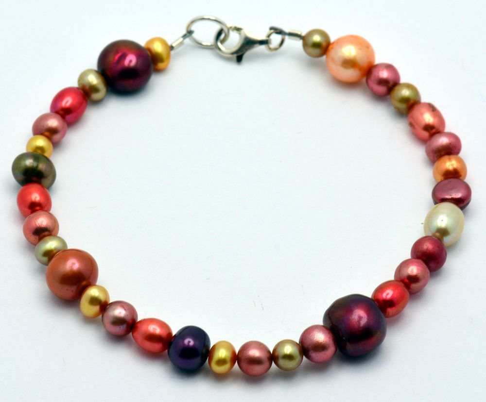Harvest Gold Freshwater Pearl Copper Mix Sterling Silver Beaded Bracelet, $20.00