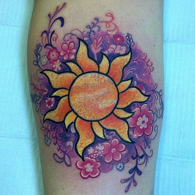 Cute another good one to do for my shoulder tattoo for Tangled sun tattoo