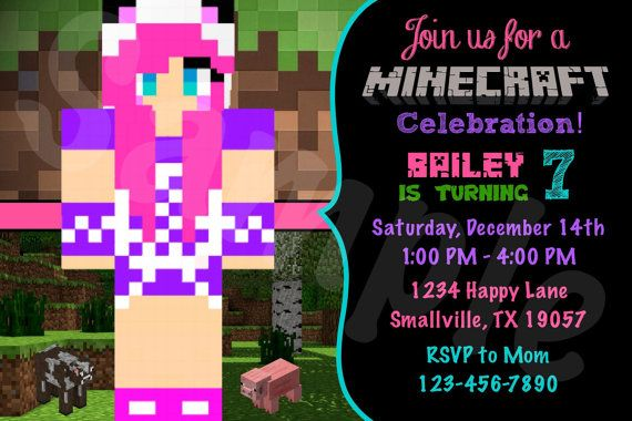 Customized Girl Minecraft Invitation Listing Is For One