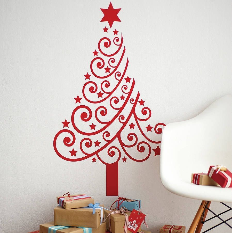 35 Tinsel Wall Christmas Tree Ideas For Your Home Decor Christmas Wall Decal Christmas Wall Stickers Christmas Tree Wall Decal