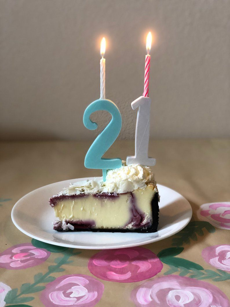 Happy 21st Birthday With Candle Holding Number Cake Toppers