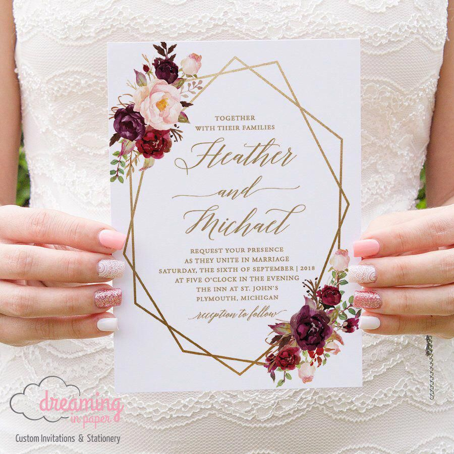 Conjunto de invitación de boda Boho Floral Geometric / Geometry – Marsala Burgundy and Pink Flowers con elección de color Geometry