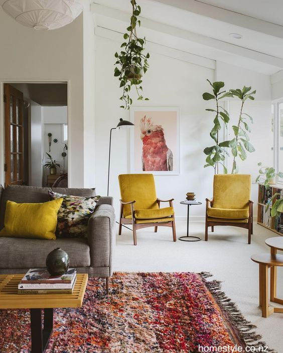 Homestyle Co Nz White Living Room Pops Color Mid Century Modern Furniture Living Room Color Living Room Designs Mid Century Modern Living Room