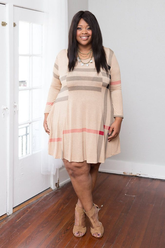 Plus Size Clothing For Women Long Sleeve Plaid Swing Dress