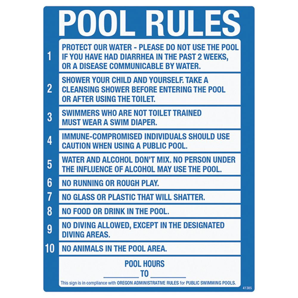 Poolmaster Sign for Residential Swimming Pools, Oregon Pool Rule ...