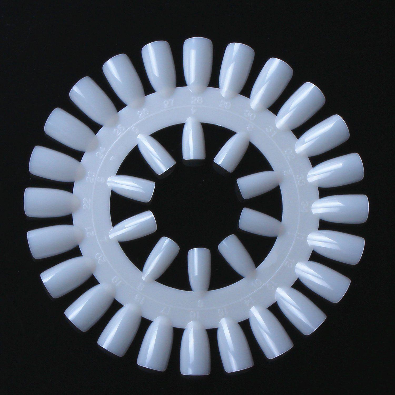Glinla 10pcs Natural Round Nail Polish Color Display Chart Wheel Practice Acrylic Tips Tool