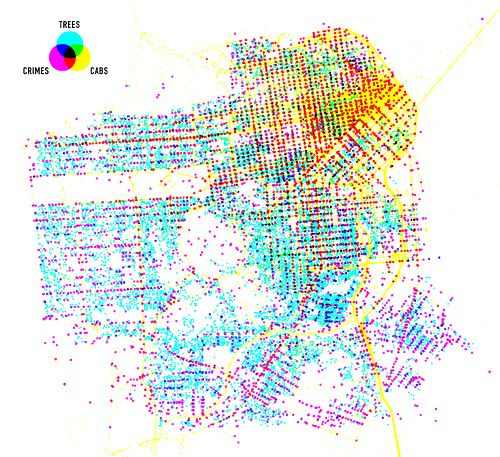 Trees cabs and crime in San Francisco Data visualisation