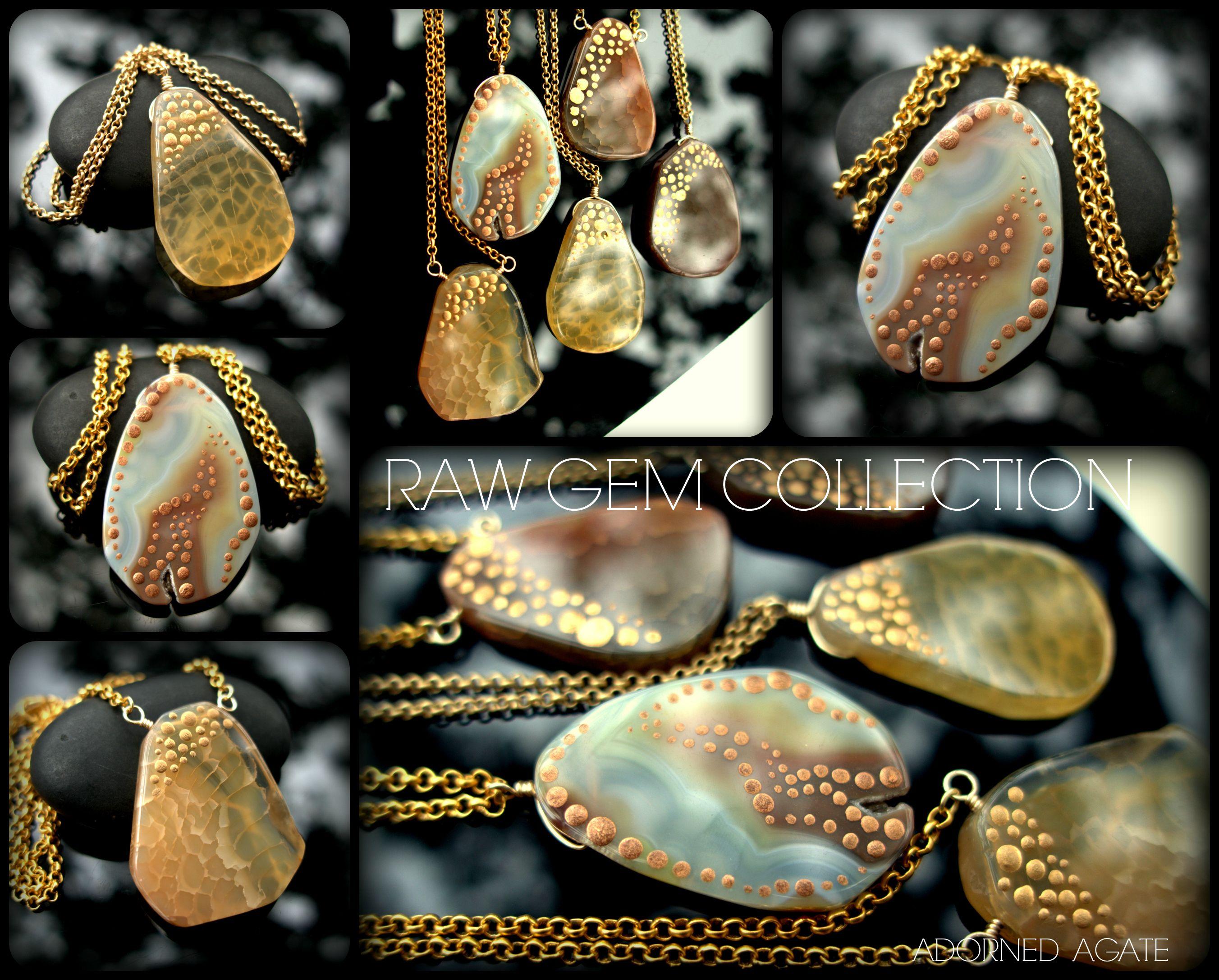 Raw Gem Look Book - Adorned Agate Slice - ShannonTJewelry.com  #rawgem #rawcrystal #crystalpoints #roughgem #roughcrystal #bohonecklace #bohojewelry #bohopendant #bohocrystal #bohochic #bohemianjewelry #hippiejewelry #hippienecklace #hippiependant #festivalfashion #agate #rawstone #rawagate #rawmineral #shannontjewelry #champagne #champangenecklace