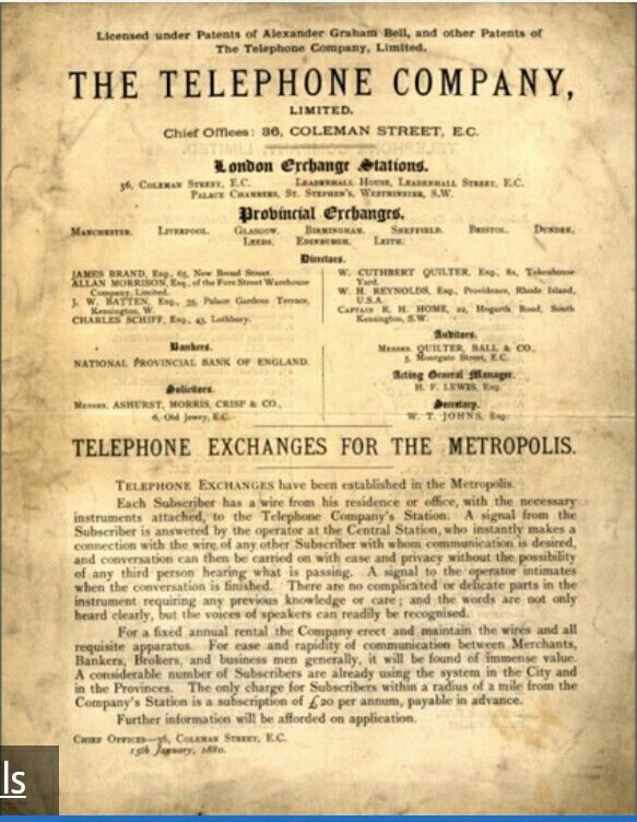 The Telephone Company Produced On 15 January 1880 First Phone Directory