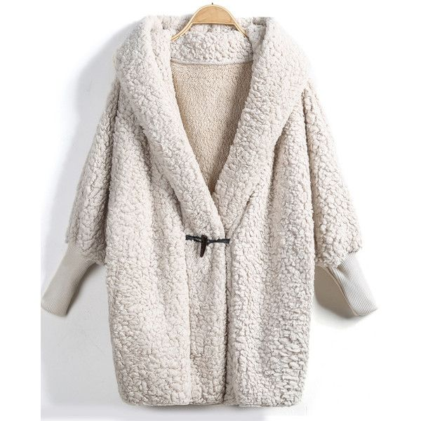 cb02465b2 Apricot Hooded Batwing Long Sleeve Loose Coat ( 27) ❤ liked on ...