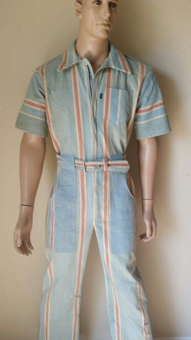 Mens Romper shorts Large blue with stripe wool gab shorts  Anna Herman USA jumpsuit cotton