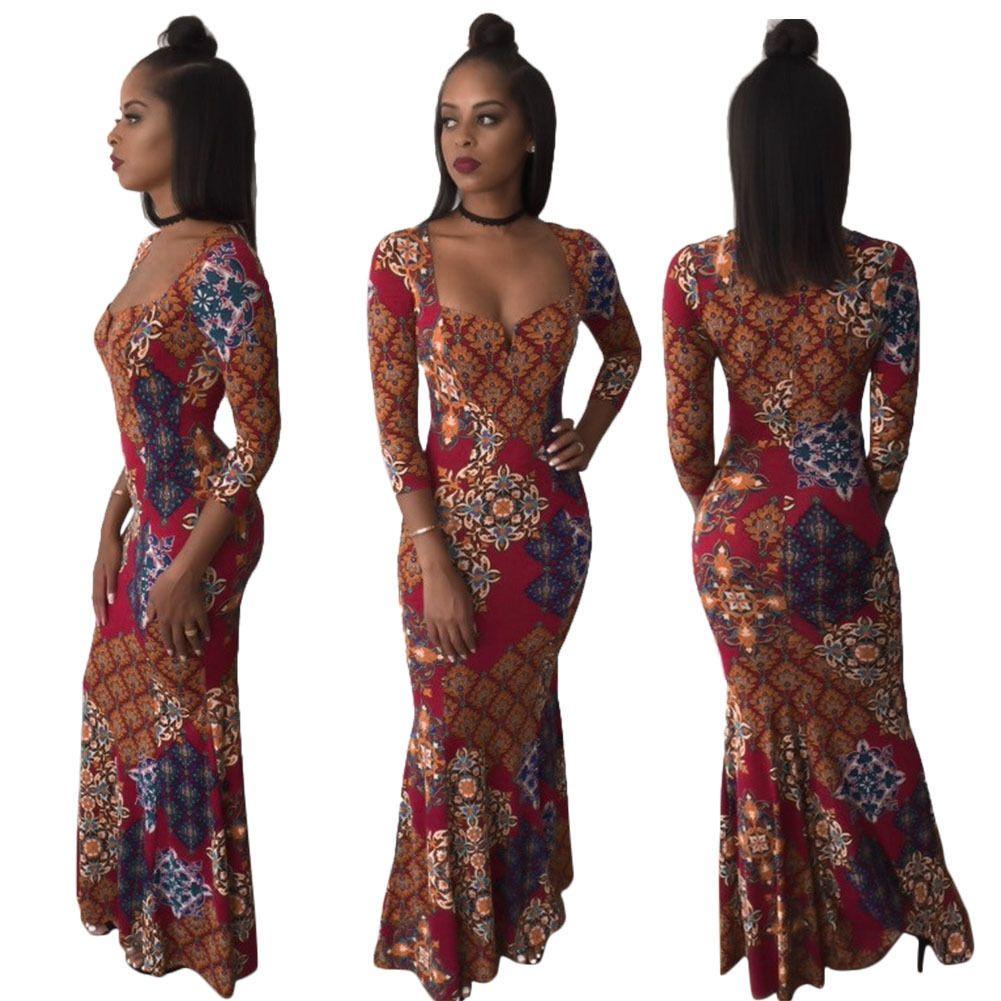 Women dress vneck long sleeve slim fit bohemia bodycon evening long