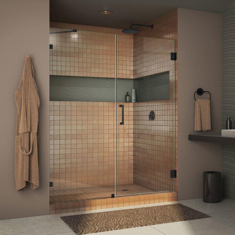 Unidoor Lux 49 X 72 Hinged Frameless Shower Door With Clearmax Technology Shower Doors Frameless Shower Doors Frameless Hinged Shower Door