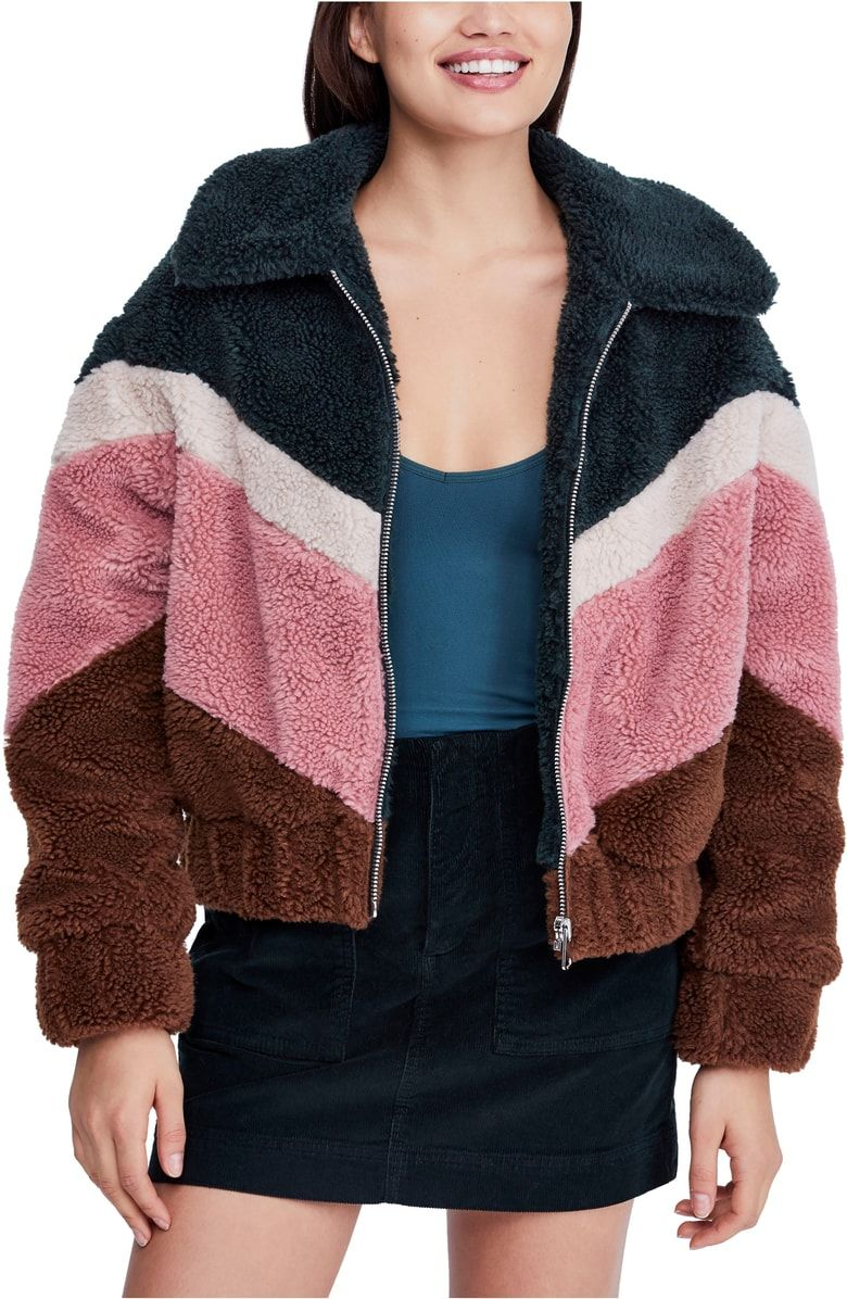 Bdg Urban Outfitters Chevron Teddy Coat Nordstrom Teddy Coat Fleece Jacket Casual Fall Outfits [ 1196 x 780 Pixel ]