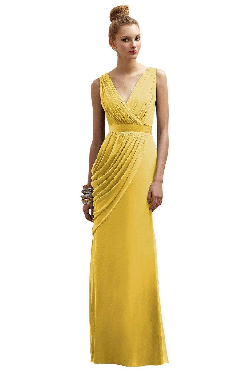 Yellow bridesmaid dresses v neck full crinkle chiffon ball gowns