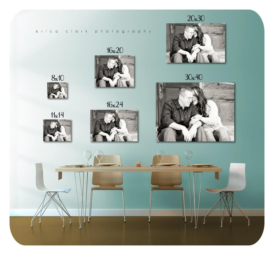what different sizes of photographs look like on a wall