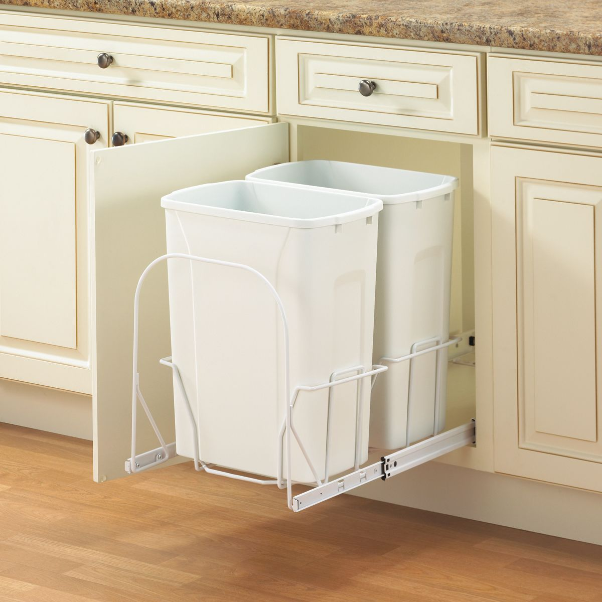 Knape and Vogt PSW15-2-35WH Waste Recycling Pull Out Trash Can at ...