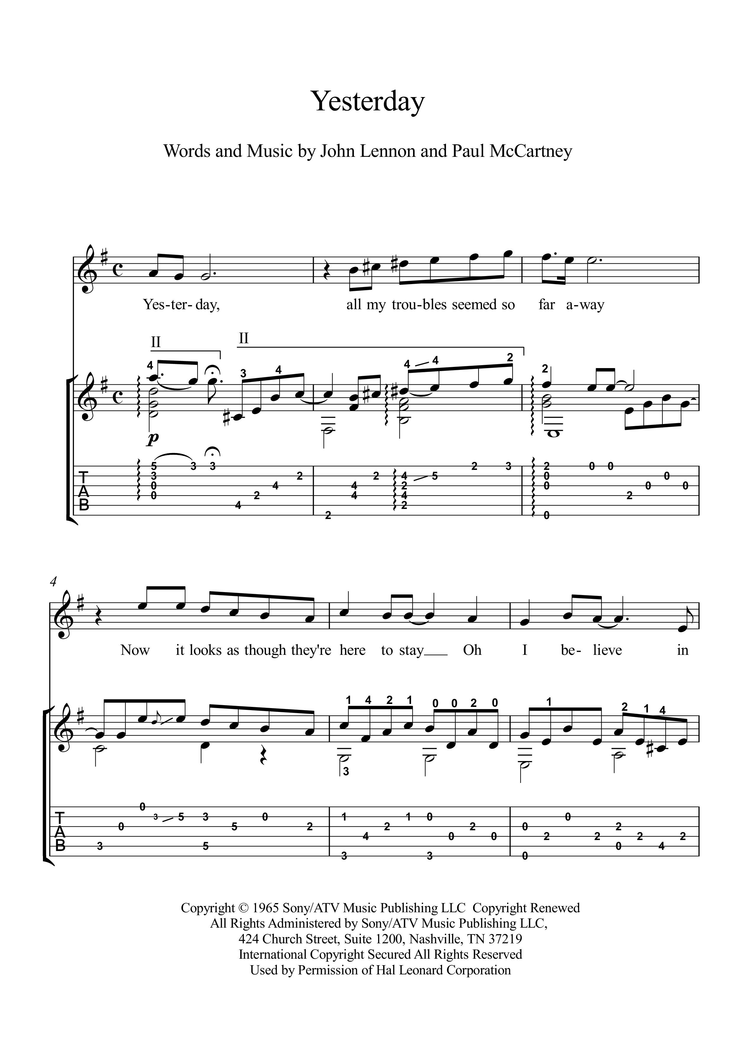 Yesterday by Beatles classical guitar solo score Yesterday is a