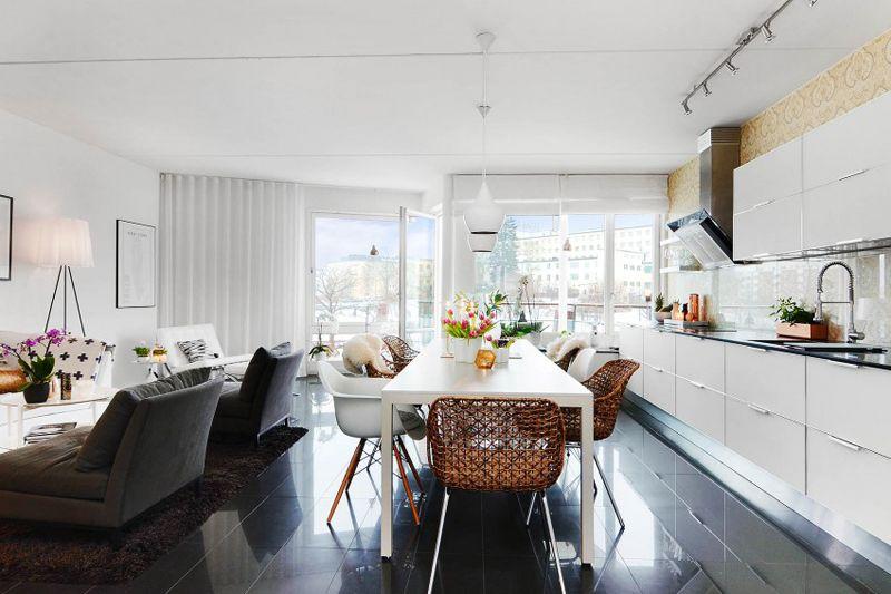 Warm Display Of Scandinavian Design In A Small Apartment Open Floor Plan Kitchen Living Room Kitchen Kitchen Design Two bedroom apartment in scandinavian