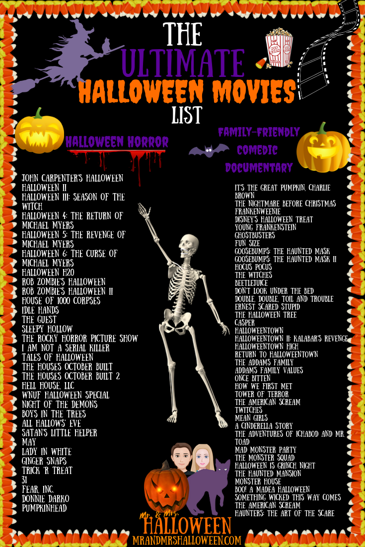 Halloween Movies List with 70 Titles & A Printable