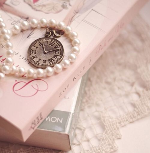 Pearls, Pink books & Lace ~ Makes a lovely vignette~❥