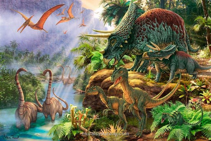 Dinosaur wall murals for kids google search room for Dinosaur mural ideas