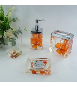 Orange Fl Acrylic Bath Accessory