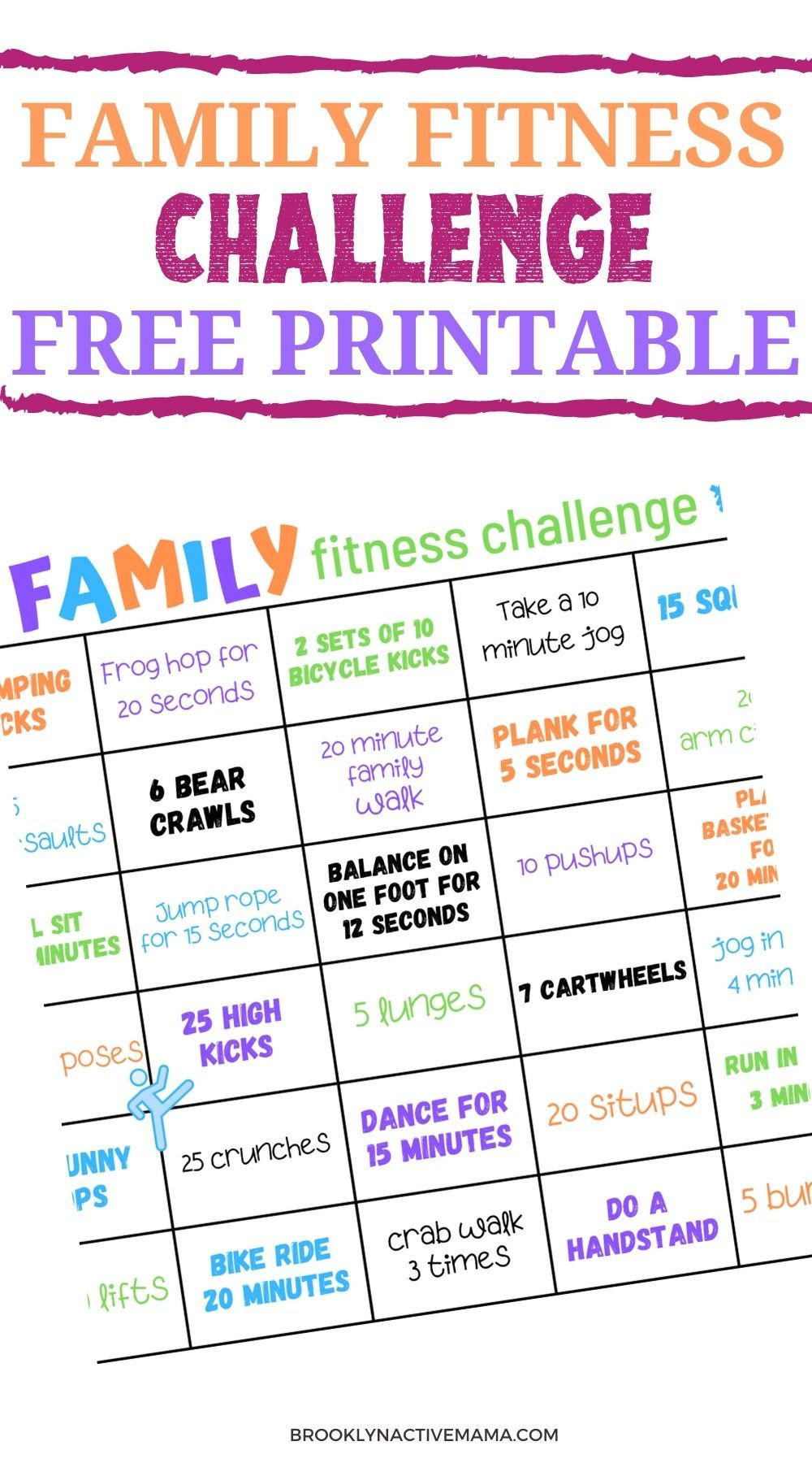 Family Fitness Challenge Free 30 Day Printable Family Fitness Challenge Family Fitness Fun Workouts