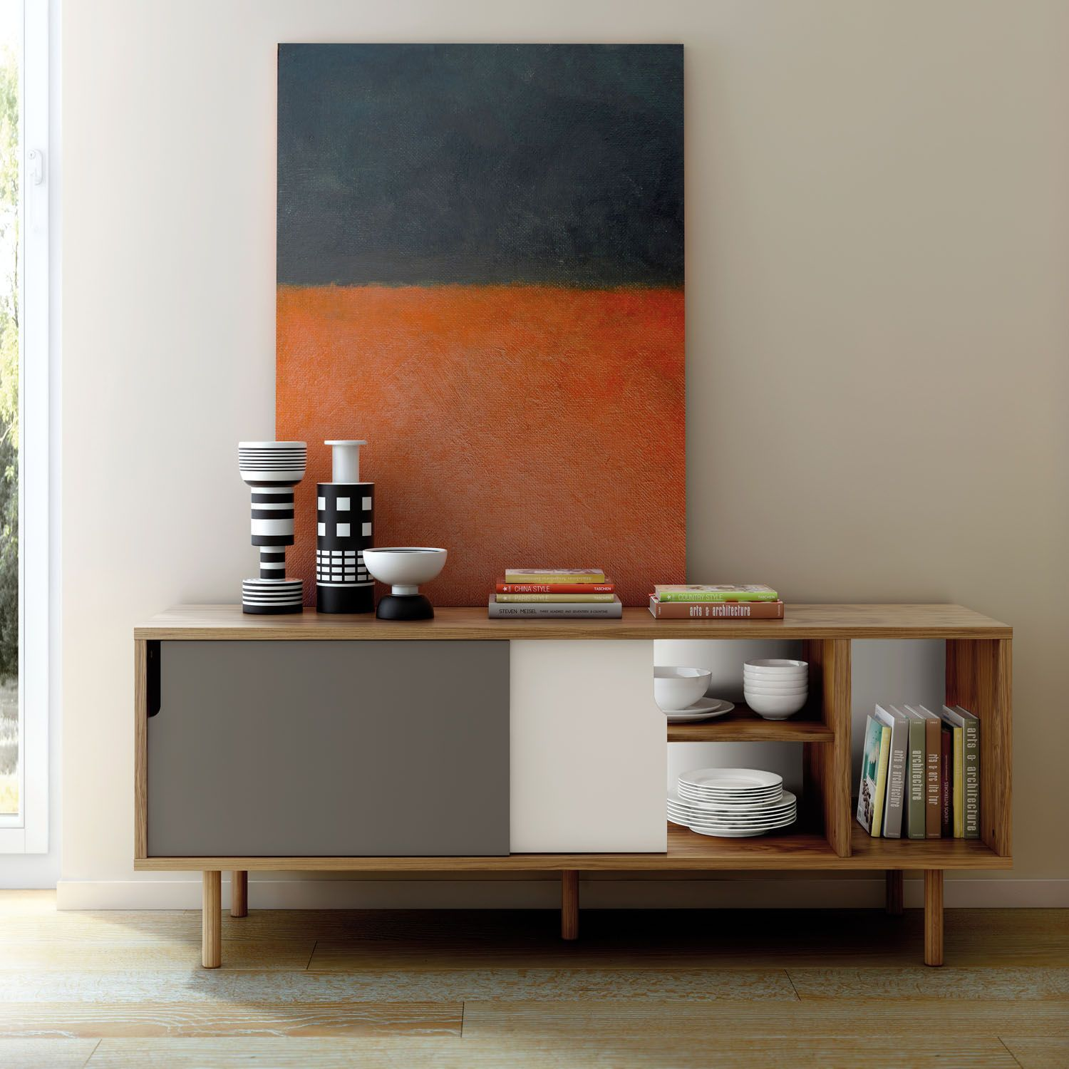 Dann Sideboard With Wooden Legs In Walnut With Grey And White Doors