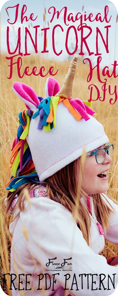 a3acbbce622 This Fleece Unicorn Hat Pattern is a free sewing project. Perfect for colder  weather your child will love the magical look of this fleece sewing project.
