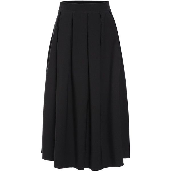 d8414e4f66 SheIn(sheinside) Black Button Long Skirt (1.420 RUB) ❤ liked on Polyvore  featuring skirts, black, long skirts, long pleated skirt, knee length skirts,  ...