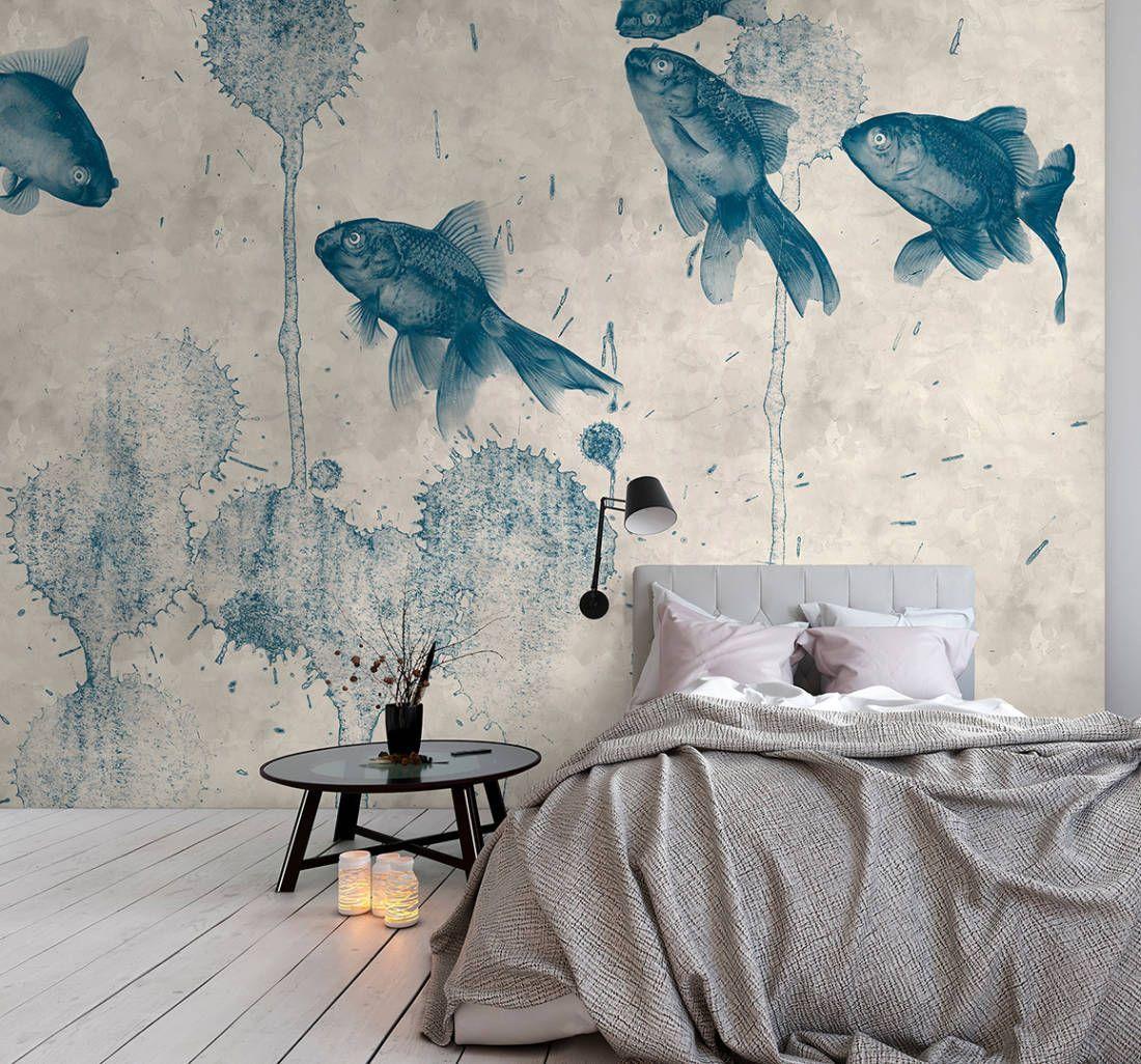 Koi Karpfen Fische Und Farbklekse Auf Beton Struk In 2020 Wall Decor Bedroom Mural Wallpaper Decor