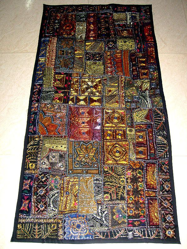 Indian Hand Made Hand Embroidered Finest Patchwork Table Runner Wall Hanging Tapestry Decorative Art Master Geometric Quilt Indian Decor Patchwork Table Runner