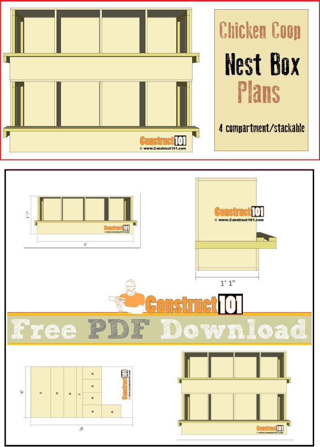 Chicken Coop Nest Box Plans 4 Compartments Stackable Pdf Download Construct101 Chicken Coop Nesting Boxes Chicken Coop Blueprints
