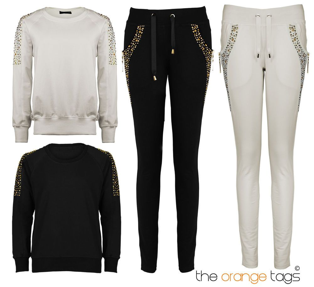 Details about new ladies studded tracksuit jogging bottoms womens