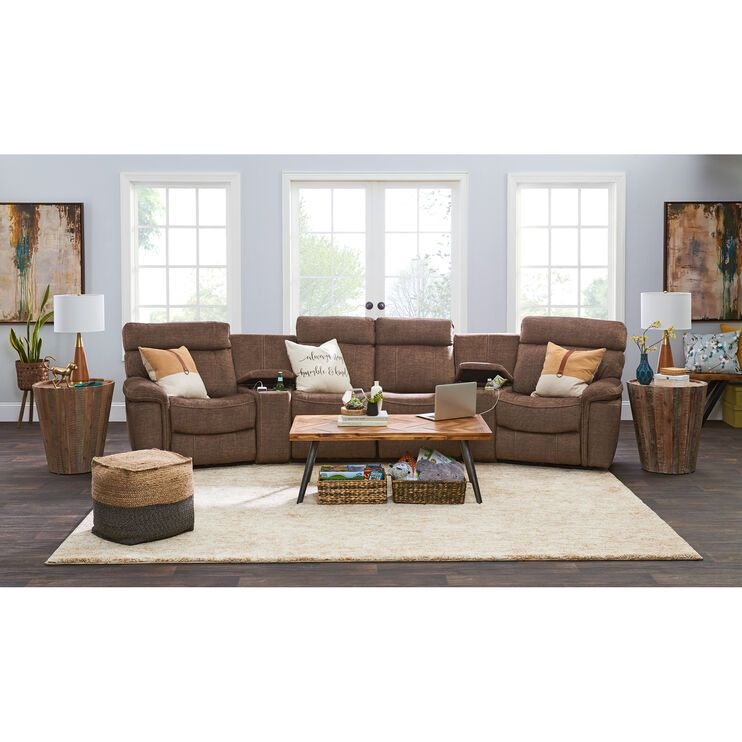 Journey 6 Piece Power Home Theater Living Room Sectional Home Theater Sofa #slumberland #living #room #furniture