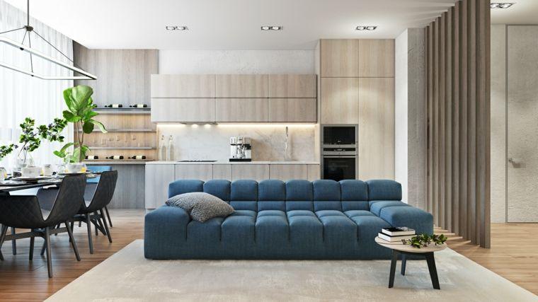 Open space cucina soggiorno, arredamento con un divano di ...
