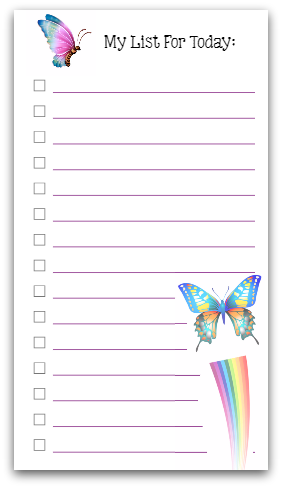 Personal Size To Do List - Butterflies! [printable] | Cat ...
