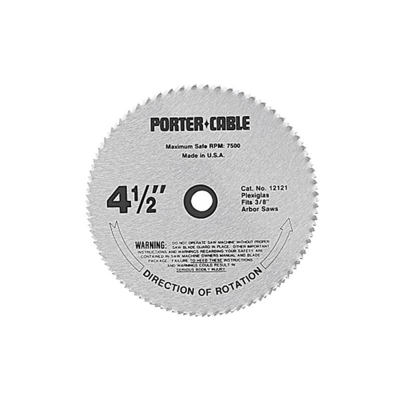 Porter Cable 12121 4 1 2 120 Tooth Plexigl Saw Blade With 3 8 Arbor For Cut Cutting Accessories Circular Blades Inch