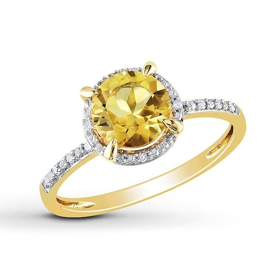 Round Citrine Ring 1 20 Ct Tw Diamonds 10k Yellow Gold Citrine Ring Rings For Her Yellow Gold Rings