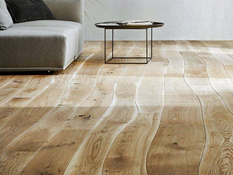 Parkettboden modern hell  Dielenboden aus Echtholz mit gekrümmten Linien | Fussböden ...