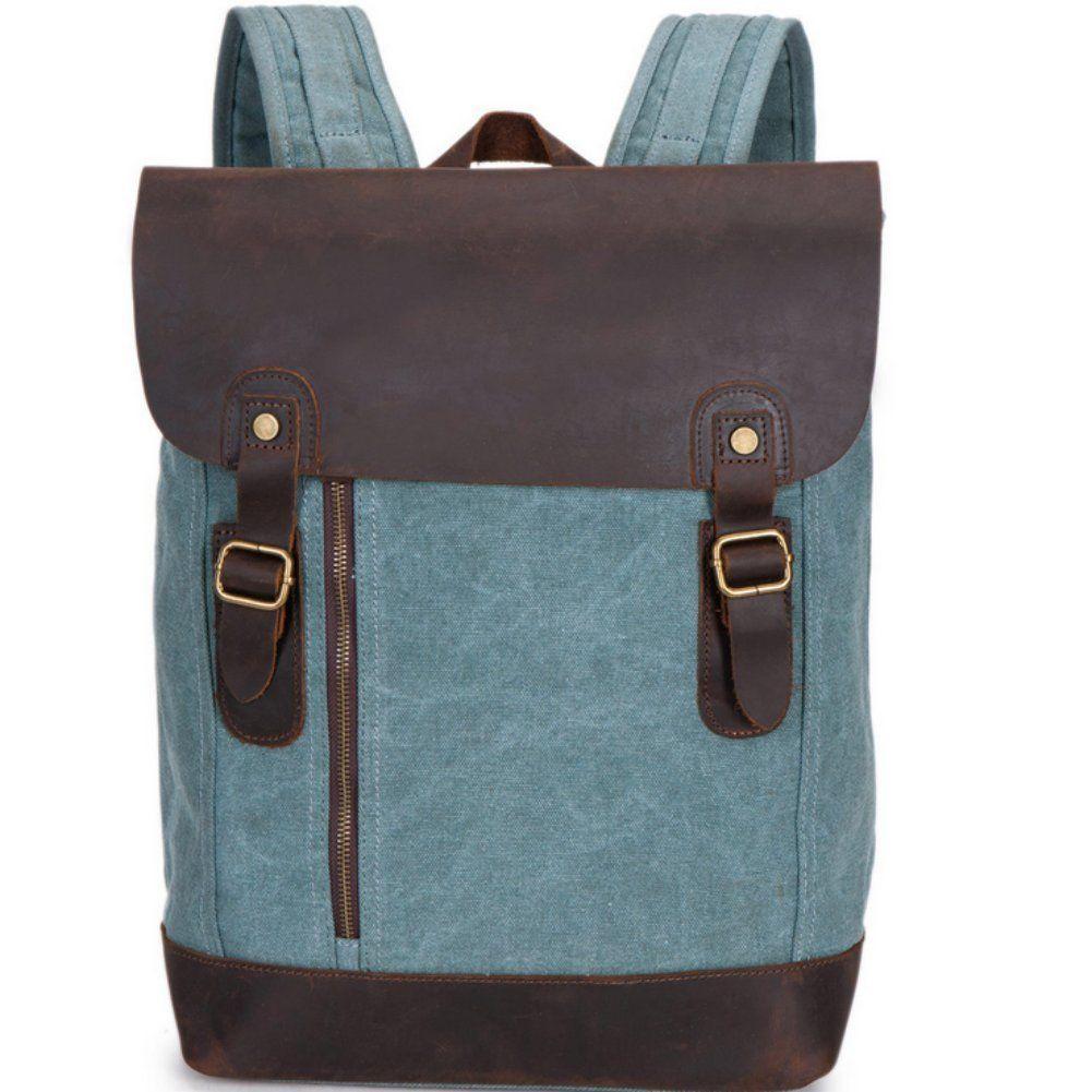 Aidonger Unisex Canvas und Leder Rucksack Laptoprucksack(Blau und Grau): Amazon.de: Koffer, Rucksäcke & Taschen