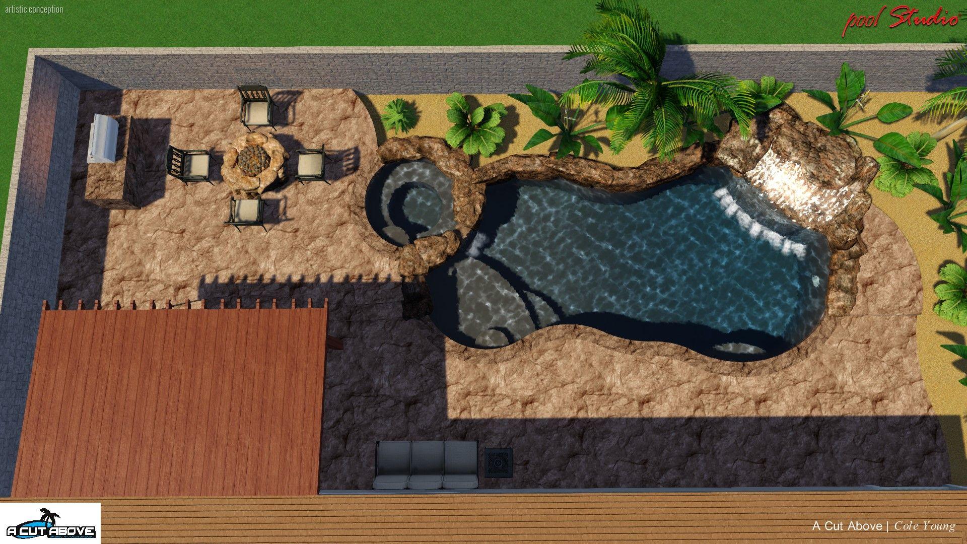3D pool design rock water slide with spa! | 3D Pool Designs ...