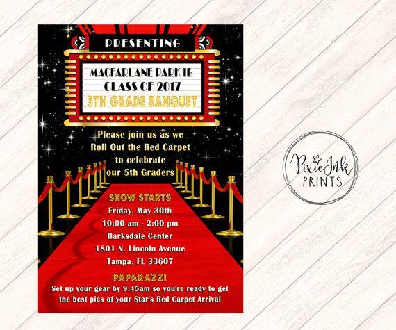Red Carpet Theatre Marquee Invitation, Movie Reel