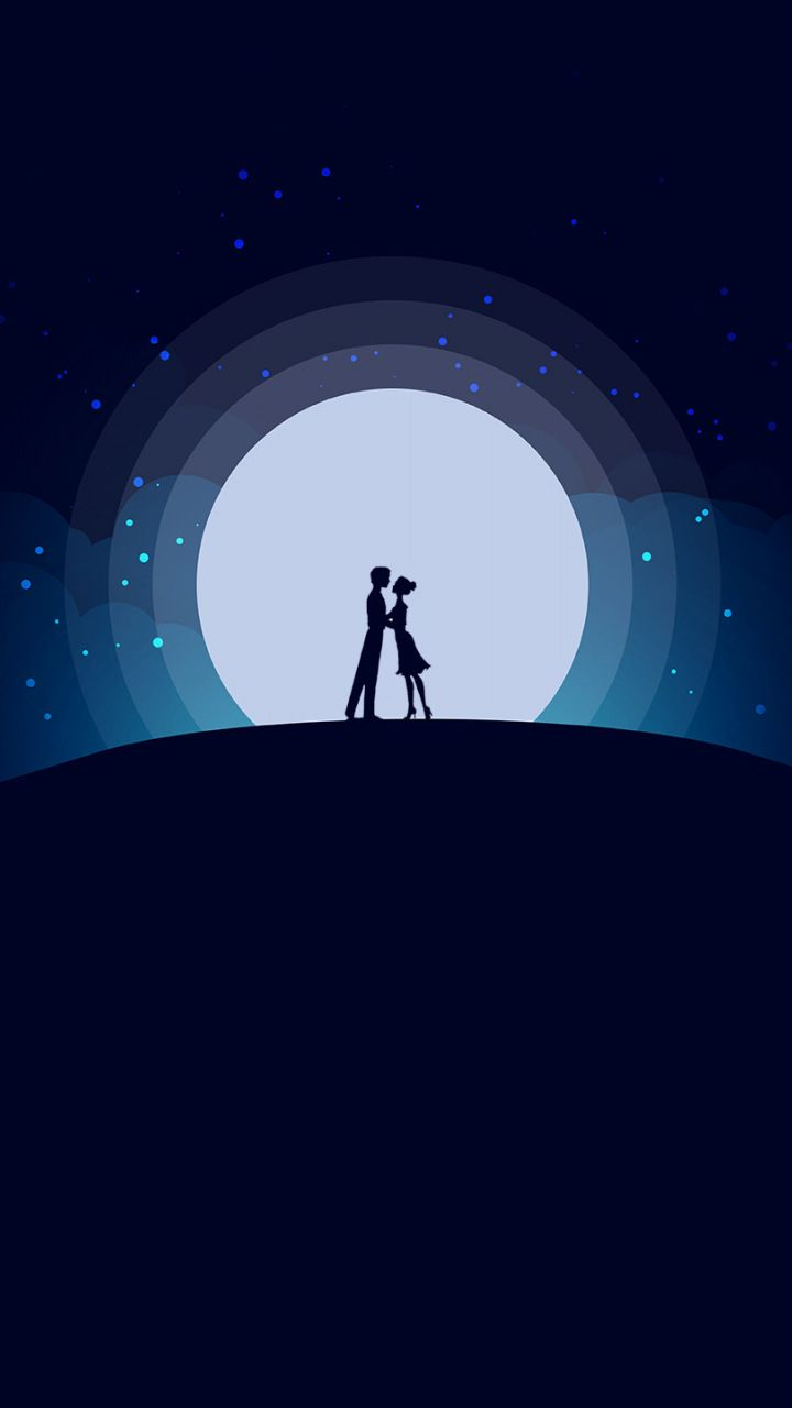 Couple love moon night romantic mood 720x1280 wallpaper vector art minimal art pinterest art wallpaper and moon